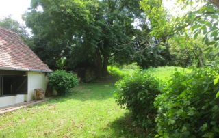 Zichtzijde tuin van authentieke Hongaarse boerderij met grote tuin 1600 m2 die te huur is in Kovácsszénája provincie Baranya.